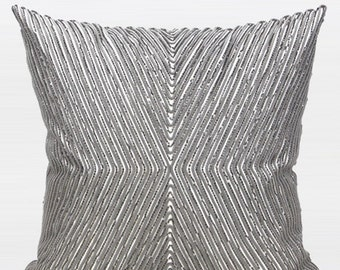 "Luxury Gray Handmade X Shape Textured Beaded Pillow Cover 20""X20"""