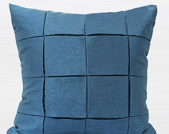 "Luxury Blue Handmade Check Metallic Pillow Cover 18""X18"""