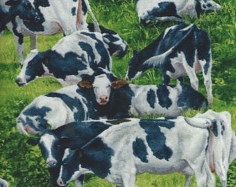 Cows Fabric..3-5 in.size holstein cows David Textile quilting fabrics.