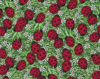 Lady Bugs  with White Daisies in Grass ,Timeless Treasures