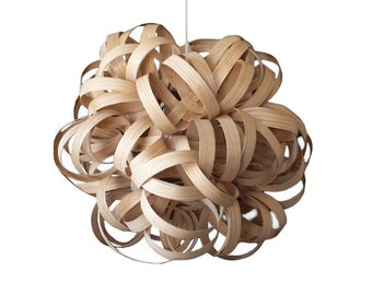 "Hanging Wood Pendant Lighting, Dahlia Pendant Light 16"", Real Wooden, Hanging Ceiling Fixture, Natural Wood Home Lighting, Wood Pendant Lamp"