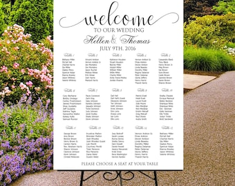 Wedding seating chart printable, digital custom wedding sign, seating assignments, seating plan, table assignment, guests list