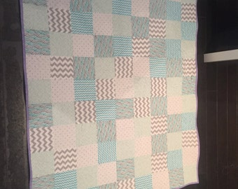 Blue and Purple Crib Size Quilt