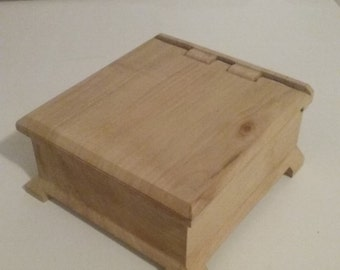 Small and unique, unfinished jewelry box. Build-to-order