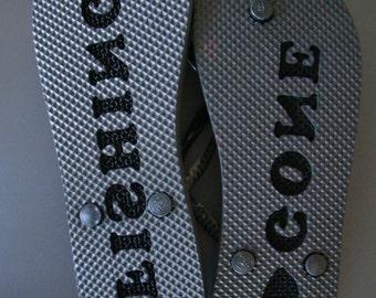 Custom Engraved Printed Personalized Flip Flops Mens