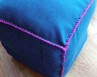 Square Blue Burlap Pouf Ottoman with Pink Stitching
