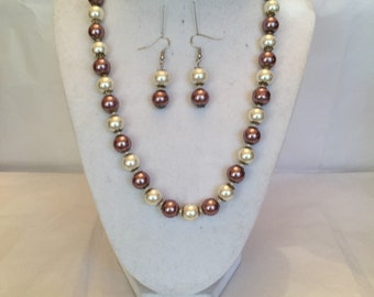 Champagne Mauve Pearl Beaded Set/Jewelry Set