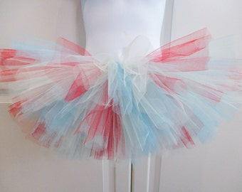Red, Aqua and Ivory Tutu - Other Colors Available