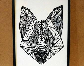 Geometric Wolf Print//A4 or A5//Wall Decoration