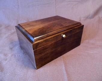 Handcrafted Black Walnut Keepsake Box #21 Handmade Memory Box with One Removable Tray
