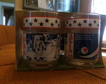 4 Pack Apollo 14 Beverage Glasses in Original Packaging