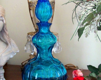 Vintage blue glass decanter liquor bottle with Stopper  mid century modern genie in the bottle