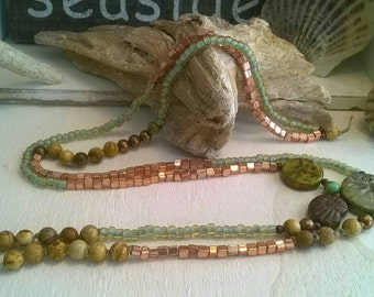 Long necklace ⭐ Jasper ⭐ Seedbeads ⭐ Czech glass beads