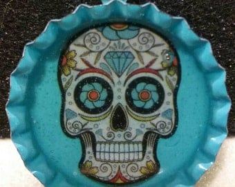 Aqua Sugar Skull Lucite Style Bottle Cap Pendant for Necklace