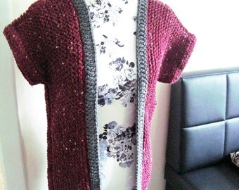 Sweater vest red vest jacket coat women red grey Gr.S-L
