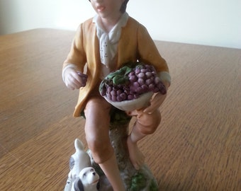 Germany-Vintage Figurine Grape Collector