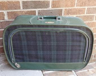 Vintage suitcase Preppy Plaid Carry on Bag Atlantic  Retro Luggage