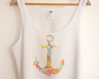 SALE Colorful Anchor Summer Crop Top