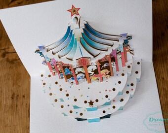 Merry-Go-Round Birthday Pop Up Card