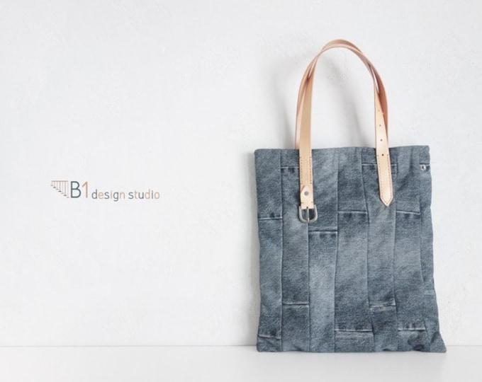 Denim Tote Bag, Black Denim Handbags, Vintage Tote Bag, Leather Tote Bag, Vintage Jeans Bag, Gift for Her, Handmade tote bag