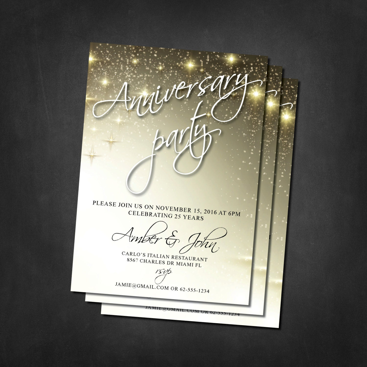 Anniversary invitations anniversary party invites 25th 30th anniversary invitations anniversary party invites 25th 30th 40th 50th glitter invites stopboris Images