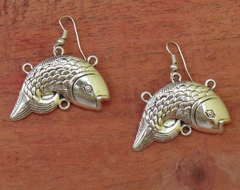 Fish Earring | Hook Earring | Drop Earring | Trial Earring | Ethnic Gypsy Earring | Silver Plated Jewellery Earring | Boho Earring Gift |E16