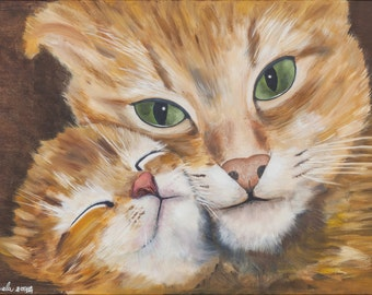 Print of oil painting from me made, cats