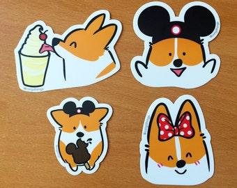 Theme Park Vinyl Corgi Sticker Pack | 4 Pack | Red Pembroke Welsh Corgi Stickers