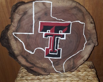Texas tech (walnut wood sign)