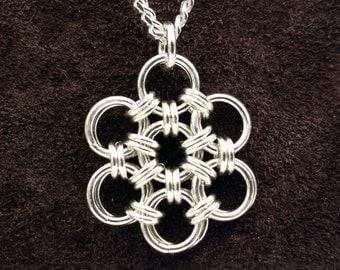 Hana Gusari Snowflake Chainmail Pendant - Sterling Silver