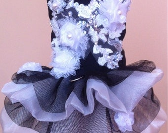 Small black - white harness dress for special occasion, canine couture, handmade , dog dress