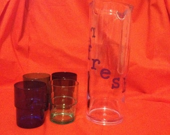 Drink Pitcher with Set of 4 Cups