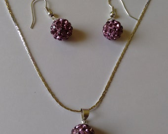 Pink Pendent and ear Ring Set