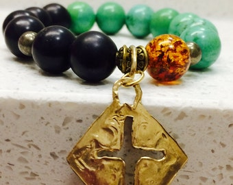 Vintage/ Authentic Mojave Green Turquoise, Natural Baltic Amber and Jet - 12mm Beaded Bracelet with Gold Bronze Santa Fe Style Cross Charm