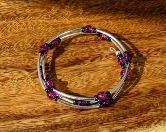 Black and purple beaded memory wire bracelet