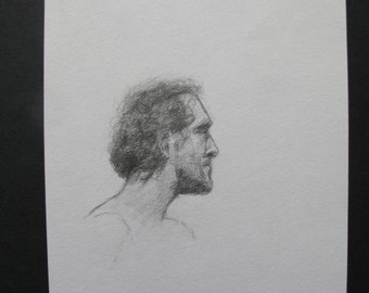 Graphite sketch of a man's head.