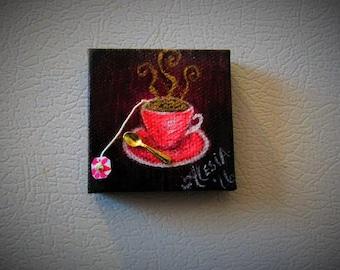 tiny pink teacup magnet