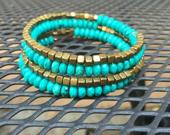 NaturalTurquoise and metal bead wrap memory wire bracelet