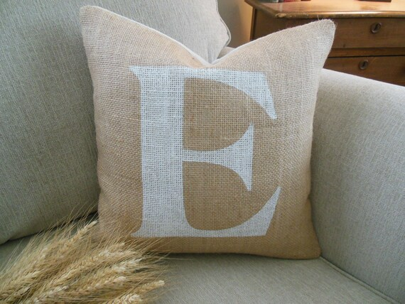 Items similar to Personalized Initial Pillow Cover. Rustic Burlap Pillow. Modern Country ...