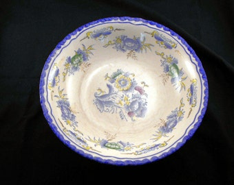 1950s Blue Rimmed Floral Decalled Serving Bowl