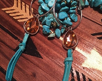 Swarovski Crystal Hoop Earrings with Turquoise Fringe