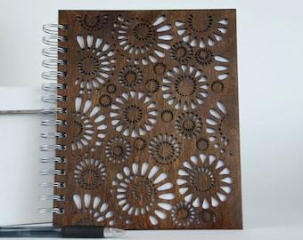 Wood spiral Notebook... Flower Pattern