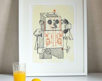 Retro robot print fun, kids room print decor wall, 60s Soviet style poster robot, wall art digital print retro machine