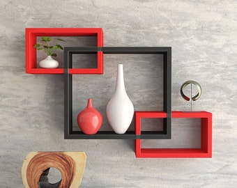 DecorNation Wall Shelf Set of 3 Intersecting Wall Shelves - Red & Black