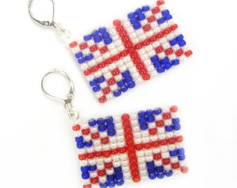 Earrings - British England flag from Miyuki beads - WM / EM - Fanartikel (BS-1196)