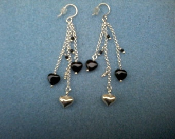Midnight Hearts - Onyx and sterling