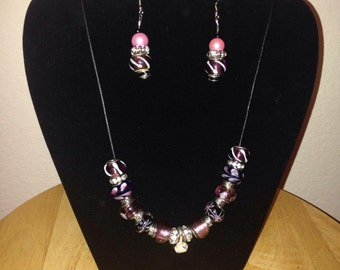 Classy Glass Beaded Necklace and Earring Set