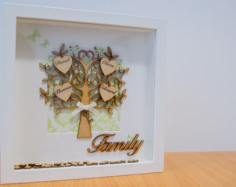 BEAUTIFUL Handmade Personalised Family Tree 3D Box Frame
