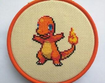 """Charmander Pokemon Cross Stitch in 4"""" Hoop"""