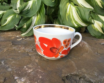 Vintage Red& White Tea Coffee Cup with Floral Hand Painted Porcelain Soviet Union Tableware